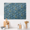 Aquarium Deep Blue Large Magnetic Board in a kitchen setting