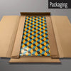 Blocks design in mustard blue and brown magnetic board in packaging