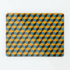 block design repeat pattern magnetic board / metal wall art panel in mustard, blue and brown colours