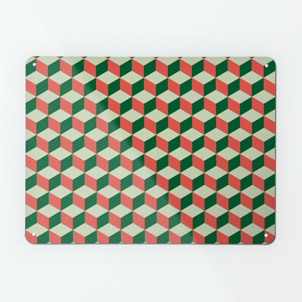 block design repeat pattern magnetic board / metal wall art panel in red, green and cream colours