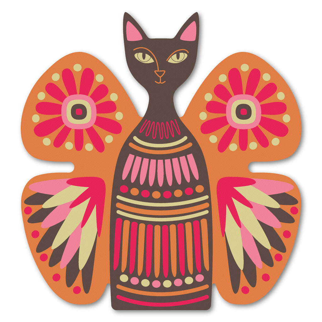butterfly cat design birch plywood wall art panel in orange/brown colour option