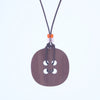 back of button design walnut pendant necklace