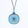 blue button design walnut pendant necklace