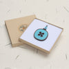 blue button design wooden pendant necklace in gift box