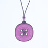 pink button design walnut pendant necklace