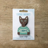 Cat inT-Shirt design fridge magnet in Cocoa colour variation by Beyond the Fridge
