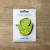 Retro Bird design fridge magnet in citrus bird lemon and lime colour variation by Beyond the Fridge