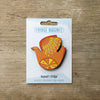 Retro Bird design fridge magnet in citrus bird orange and lemon colour variation by Beyond the Fridge