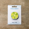 Lime Citrus Slice design fridge magnet in pack by Beyond the Fridge