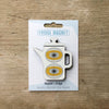 Coffee Pot design fridge magnet in white colour variation by Beyond the Fridge