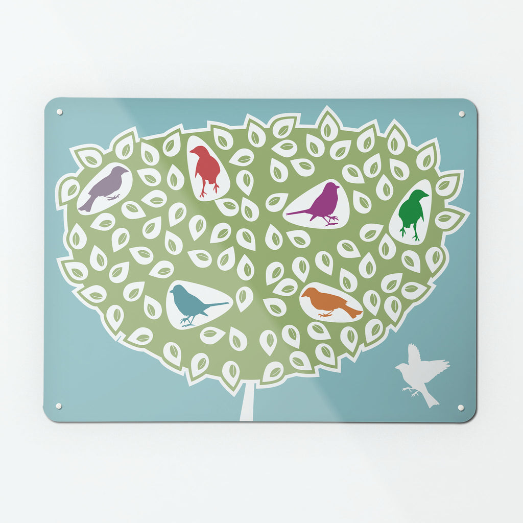 Coloured Birds in a Tree Magnetic Board