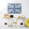 Cool Britannia Blue Design Large Magnetic Board in a workspace setting