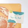 crab illustration design magnetic notice board with a postcard attached with a lemon slice fridge magnet