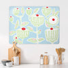 Cupcake Plant Design Blue Large Magnetic Board in a kitchen setting