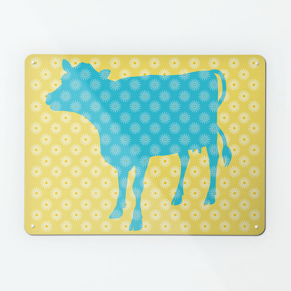 Daisy the Cow design large magnetic notice board in Blue and Yellow