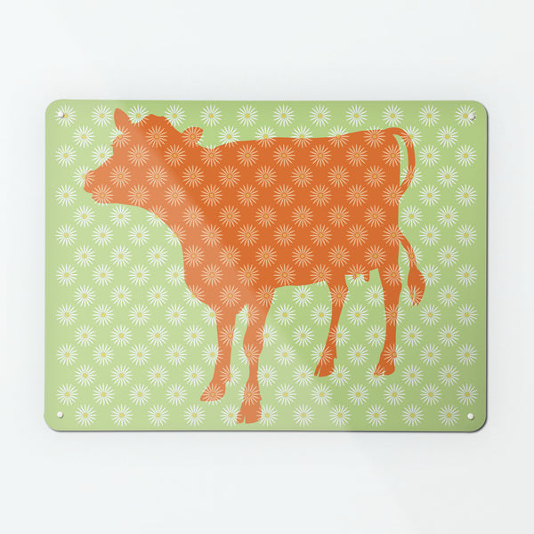 Daisy the Cow design large magnetic notice board in Orange and Green
