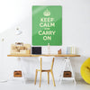 Green Keep Calm and Carry on Magnetic Board in a workspace setting