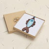 fish design walnut pendant necklace in a gift box