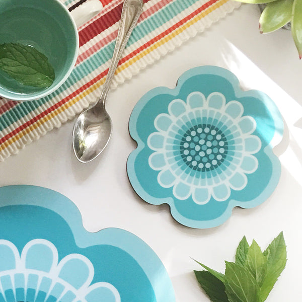 Aqua retro flower power design placemat and coaster by Beyond the Fridge