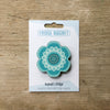 Flower Power design fridge magnet in aqua colour variation by Beyond the Fridge