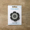 Flower Power design fridge magnet in black and white colour variation by Beyond the Fridge