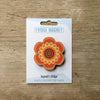Flower Power design fridge magnet in orange colour variation by Beyond the Fridge