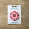 Flower Power design fridge magnet in pink colour variation by Beyond the Fridge
