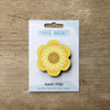 Flower Power design fridge magnet in yellow colour variation by Beyond the Fridge