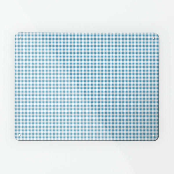 Gingham Blue Magnetic Notice Board