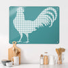 Gingham Cockerel Blue Design Magnetic Board in a kitchen setting