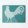 Gingham Cockerel Blue Magnetic Notice Board