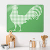 Gingham Cockerel Green Design Magnetic Board in a kitchen setting