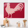 Gingham Cockerel Red Design Magnetic Board in a kitchen setting