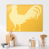 Gingham Cockerel Yellow Design Magnetic Board in a kitchen setting