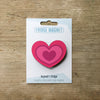 Heart design fridge magnet in pink colour variation by Beyond the Fridge