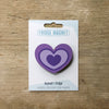 Heart design fridge magnet in purple colour variation by Beyond the Fridge