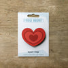 Heart design fridge magnet in red colour variation by Beyond the Fridge