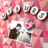 heart and mr & mrs letter magnets on a magnetic board