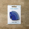 Horse design fridge magnet in blue colour variation by Beyond the Fridge