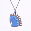 cobalt horse design walnut pendant necklace