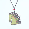 green horse design walnut pendant necklace