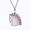 grey horse design walnut pendant necklace