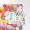 jelly beans design magnetic notice board with a postcard attached with a heart fridge magnet