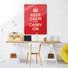 Red Keep Calm and Carry on Magnetic Board in a workspace setting