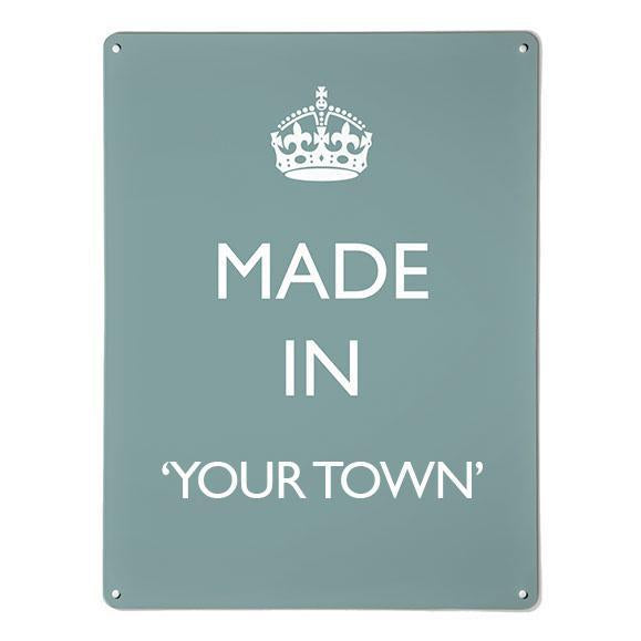 'Made In My Town' - Blue - Large Magnetic Notice Board / Wall Art