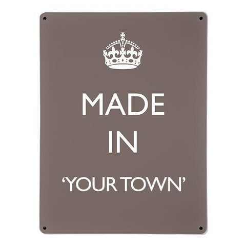 'Made In My Town' - Brown - Large Magnetic Notice Board / Wall Art