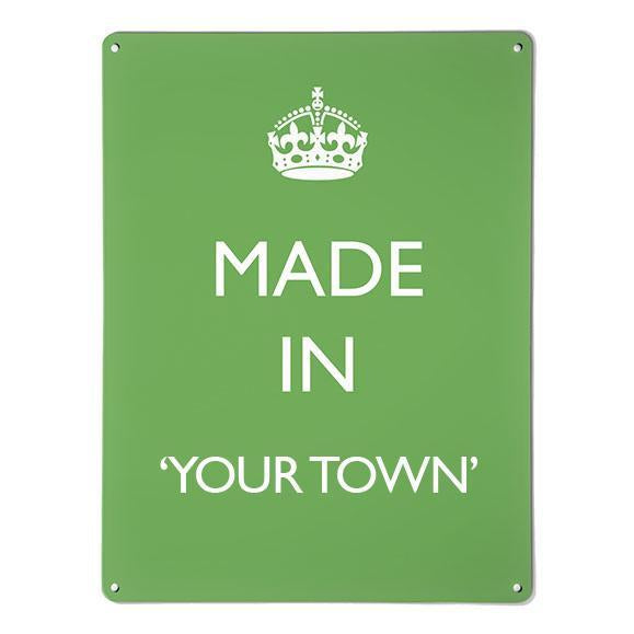 'Made In My Town' - Green - Large Magnetic Notice Board / Wall Art