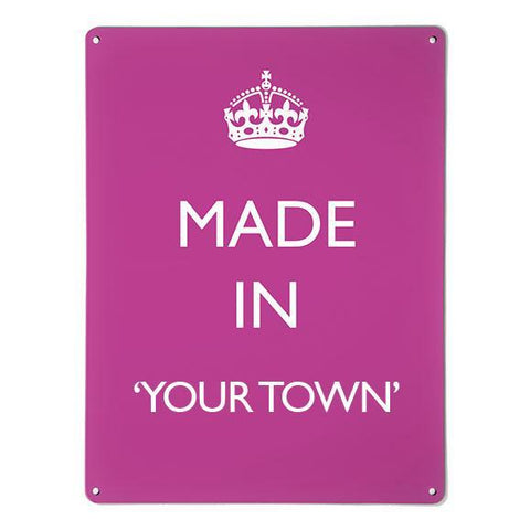 'Made In My Town' - Pink - Large Magnetic Notice Board / Wall Art