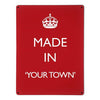 'Made In My Town' - Red - Large Magnetic Notice Board / Wall Art