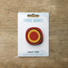 Millefiori design fridge magnet in red circle colour variation by Beyond the Fridge